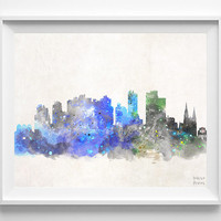 Curitiba Skyline, Brasil Poster, Watercolor, Brazilian, Print, Bedroom, Cityscape, City Painting, Illustration, Home, Paint, Decor [NO 553]