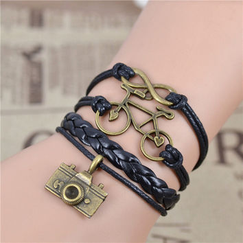 New Fashion infinity Bicycle & Camera bracelet Imitation pearl black bracelet Youth Memorial bracelet .best gift IB507