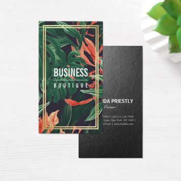 Tropical Flower Plant Gold Frame Fashion Boutique Business Card