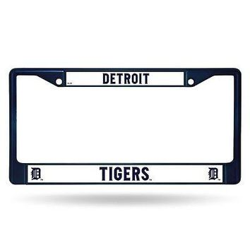 Detroit Tigers MLB Licensed Blue Painted Chrome Metal License Plate Frame