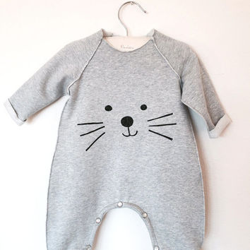 Cat Romper or bodysuit - Unisex - Soft Cotton - Sizes for baby and toddler Newborn to 2T