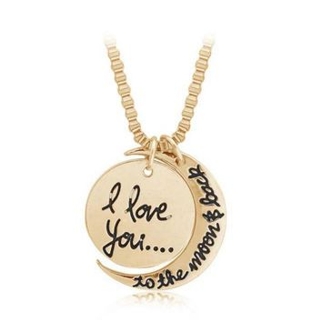 DCCKUNT I LOVE YOU TO THE MOON AND BACK ' Moon Pendant Lover's Necklace Great Gifts