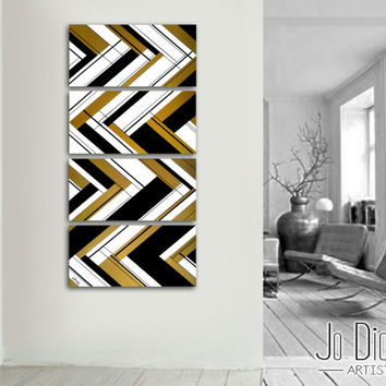 "Original abstract painting. 51x12"" 4 piece canvas art. Large painting. Gold painting. Unique. Black and gold. Geometric painting"