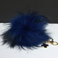 Fur Pom Pom keychain luxury bag charm pendant clover flower keychain keyring in navy with natural tips