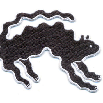 "Black Wavy Cat Iron-On Patch 4""x3.5"" limited edition"