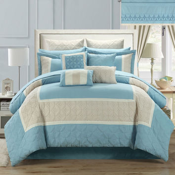 Aida Quilted 25 Piece KING Room In A Bag Comforter Bed Sheet Set Blue