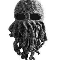 AWEIDS Tentacle Octopus Cthulhu Knit Beanie Hat Cap Wind Ski Mask Gray