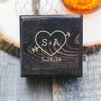 Customized Engraved Rustic Heart & Initials Wedding Wood Ring Box