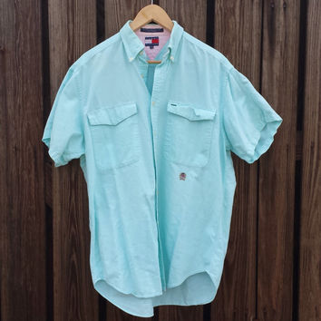 Vintage TOMMY HILFIGER Mens Button Down Shirt - Pastel Green & Pink - SZ M