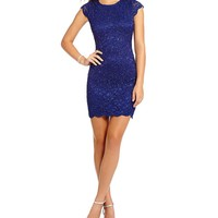 Jump Cap Sleeve Scalloped Lace Dress | Dillards