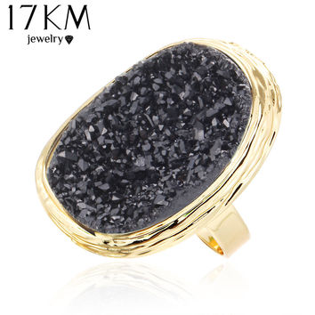 17KM 2016 Hot Natural Stone Rings 4 Colors Big Gold Color Adjustable Ring Midi bague Love Wedding Rings for Women Jewellery