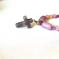 amethyst quartz cross and purple lampwork beaded necklace, purple necklace, cross necklace,  beaded cross necklace, cross pendant, quartz