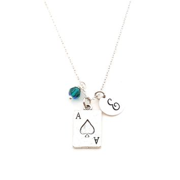 Ace of Spades Personalized Sterling Silver Necklace