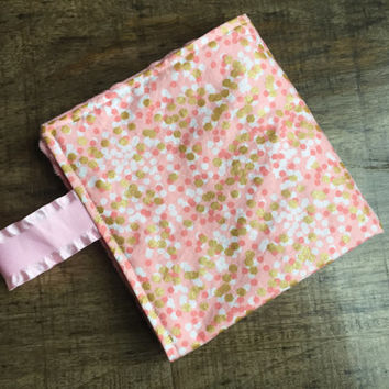 Coral Lovey Baby Blanket, Coral & Gold Blanket, Travel Blanket, Baby Girly Minky Security Blanket