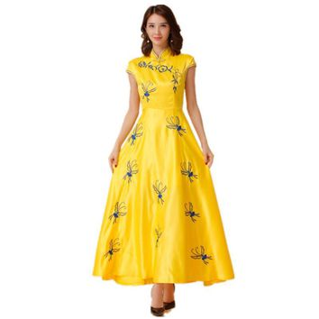 Embroidery High Collar Festive Banquet Maxi Dress