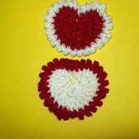 Valentine Glitter Heart Crochet Heart Applique Your Choice Of Red Or White
