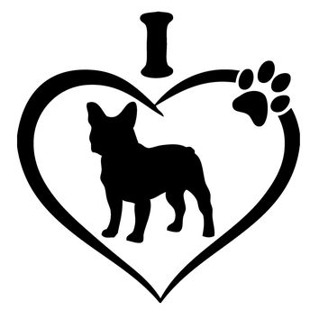 I Love French Bulldogs Vinyl Graphic Decal