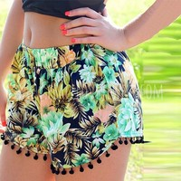 Floral Jungle Pom Pom shorts