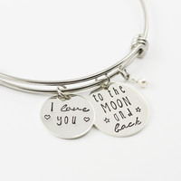 I Love You To The Moon And Back Adjustable Bangle Bracelet