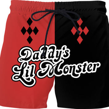 Daddy's Lil Monster? Or rather Momma's BIG 'un? Hm... ;) Comic style men swim shorts