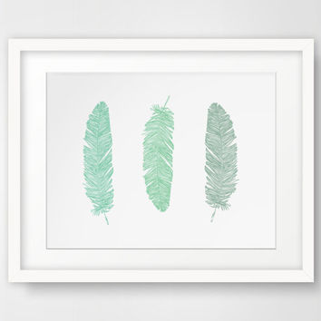 Mint Green Feather Print, Feather Wall Art, Mint Green Print, Mint Feather Wall Art, Green Feathers Wall Print, Bohemian Wall Art, Printable