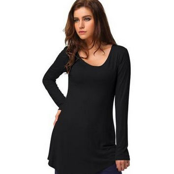Plus Size Scales Cotton Long Sleeve T-shirts [7322492801]