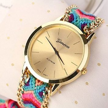 Sannysis New Women Knitted Braided Weaved Rope Band Bracelet Quartz Dial Wrist Watch Blue