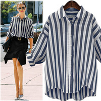 Fashion Blue White Striped Women Blouses 2017 Summer Long Sleeve Shirt Women Casual Tops Plus Size Linen Blouse Camisas Mujer