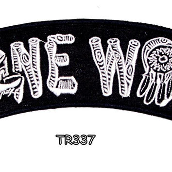 LONE WOLF White on Black Top Rocker Iron on Patch for Biker Vest TR337