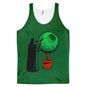 Death Star Plant Star Wars Space Opera Anakin Skywalker Sith Galactic Empire Jedi Darth Vader Dye Sublimation All Over Print 3D Full Print Cotton Polyester Unisex Novelty Green & Black Tank Top