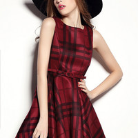Red Plaid Sleeveless Skater Mini Dress