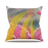 "Infinite Spray Art ""Enlightening"" Pink Yellow Outdoor Throw Pillow"