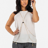 White Chiffon Top With Body Chain Attached