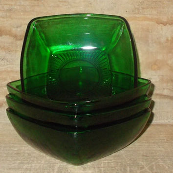 Set of 4 Berry Bowls-Fire King Forest Green Charm Berry Bowls-depression glass-vintage-four