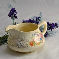 Cottage Floral Creamer for Decor - Crazed  Aged Primitive Look or Shabby