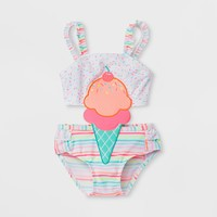 Baby Buns Baby Girls' Ice Cream Cone One Piece Swimsuit