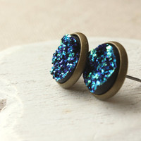 Druzy STUD Earrings or Moon Rocks CLIP on earring Blue Post Simple Blue unpierced earring lightweight Small Minimalist blue geode Drusy E323