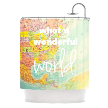 "Libertad Leal ""What a Wonderful World"" Map Shower Curtain"