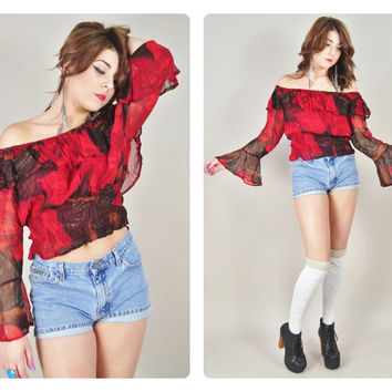 1970s red black floral sheer chiffon ruffle ANGEL SLEEVE off shoulder hippie boho peasant gypsy crop top VINTAGE