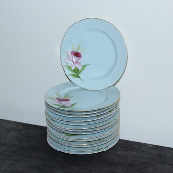 Shofu Made in Occupied Japan hand-painted daffodil bread & butter plates (Set of 15)
