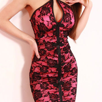 Pink Halter with Keyhole and Chinese Knot Floral Lace Bodycon Mini Dress