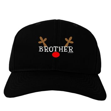 Matching Family Christmas Design - Reindeer - Brother Adult Dark Baseball Cap Hat by TooLoud