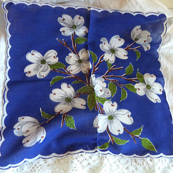 Dogwood Flower Handkerchief Large Vintage 1950's Scalloped Borrowed Blue Flower Women's Hankie Accessory Wedding Bridal Sewing Dollhouse
