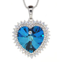 Dear Deer White Gold Plated Swarovski Elements Blue Heart of the Ocean CZ Pendant Necklace