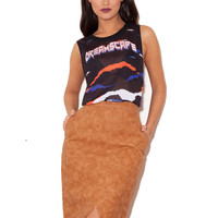 Clothing : Skirts : 'Marinetta' Tan Leatherette Pencil Skirt