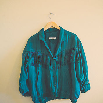 Green Silk Jacket  Fringe Coat Vintage Jacket Women's XL  70s 80's Hippie Rocker Windbreaker