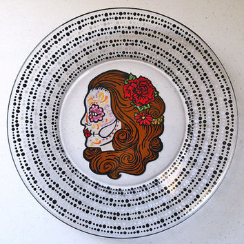 Sugar Skull Plate, Day of the Dead Dinnerware, Dia De Los Muertos Art, Sugar Skull Gifts, Sugar Skull Art, Sugar Skull Glass, Calavera Gifts