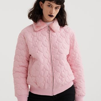 Lazy Oaf Pink Quilted Heart Jacket - View all - New In - Womens