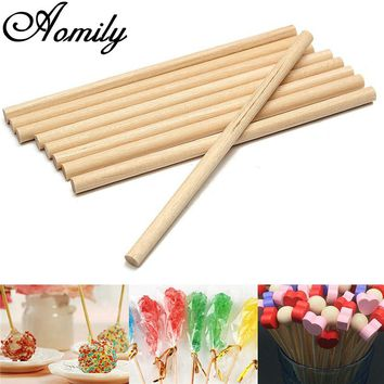Aomily 100pcs/Set Round Wooden Lollipop Lolly Sticks 10cm Cake Dowels For DIY Food Crafts Candy Decor Rod Party Events Supplies
