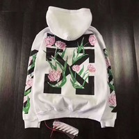 OFF WHITE couple models plus velvet hooded sweater cotton fabric arrow tulip perfect hot stamping both men and women can be F-CN-CFPFGYS White
